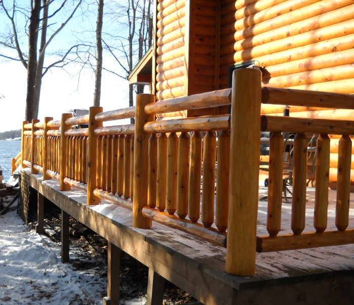 Log and timber porches decks railings built to fit for Log cabin porches and decks